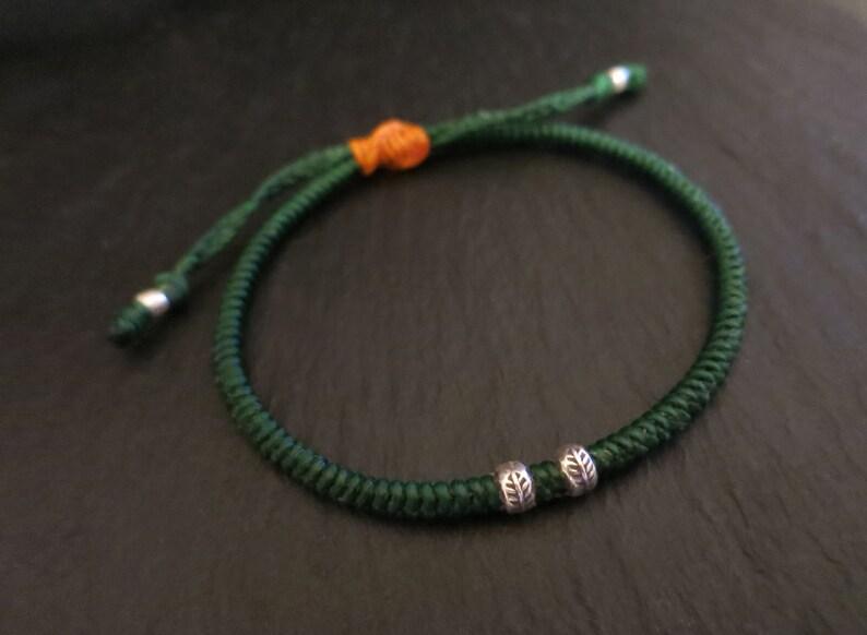 waxed cord bracelet with leaf printed hill tribe silver bead  beach bracelet for men  mens surfer bracelet  adjustable bracelet