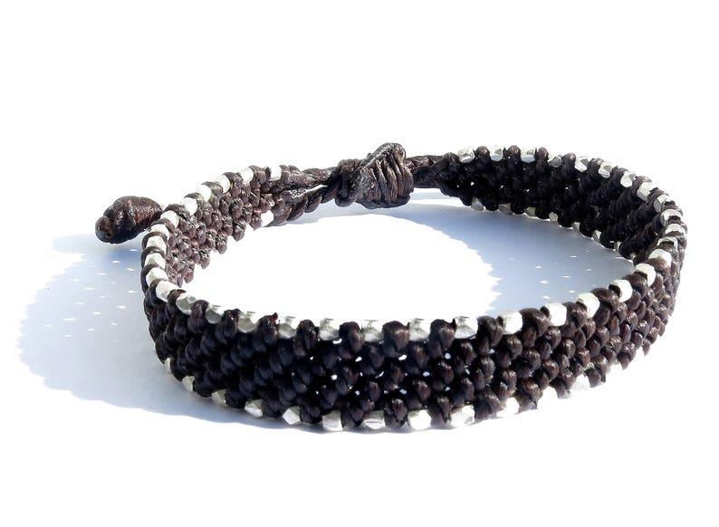 waxed cord men bracelet sterling silver faceted beads  mens beach bracelet  men macrame bracelet  knotted bracelet for men