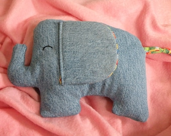 Plush Denim Elephant - Multicolored Squares, Kawaii Plush, Cute Elephant, Stuffed Elephant
