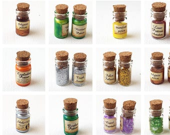 Printable dollhouse potion labels, book covers 1:12 scale DOWNLOAD, Harry Potter potions