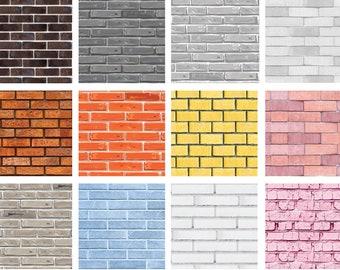 12 Dollhouse Brick Wall Patterns | Miniature Bricks Wall Pattern | 12 Letter Size Printable Sheets | Instant Download | Digital File | PDF