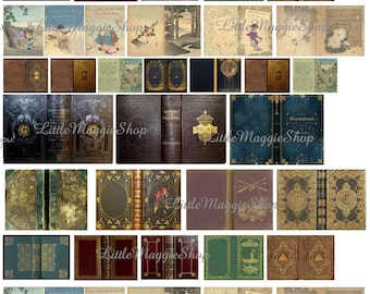 Printable book cover etsy vintage magic book covers set 112 scale downloadable printable covers for do it yourself dollhouse books download solutioingenieria Image collections