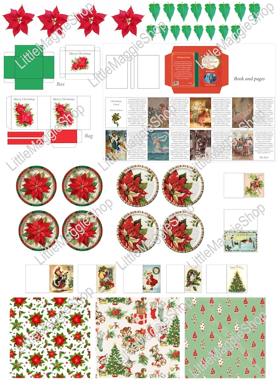 picture about Christmas Stencils Printable identify Printable Xmas Template - Plates, Reserve, Greeting Playing cards, Poinsettia, Bag and Box for dollhouse miniatures and Barbie