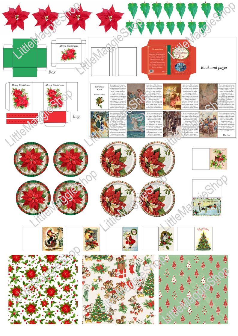 graphic about Printable Christmas Templates identified as Printable Xmas Template - Plates, Guide, Greeting Playing cards, Poinsettia, Bag and Box for dollhouse miniatures and Barbie