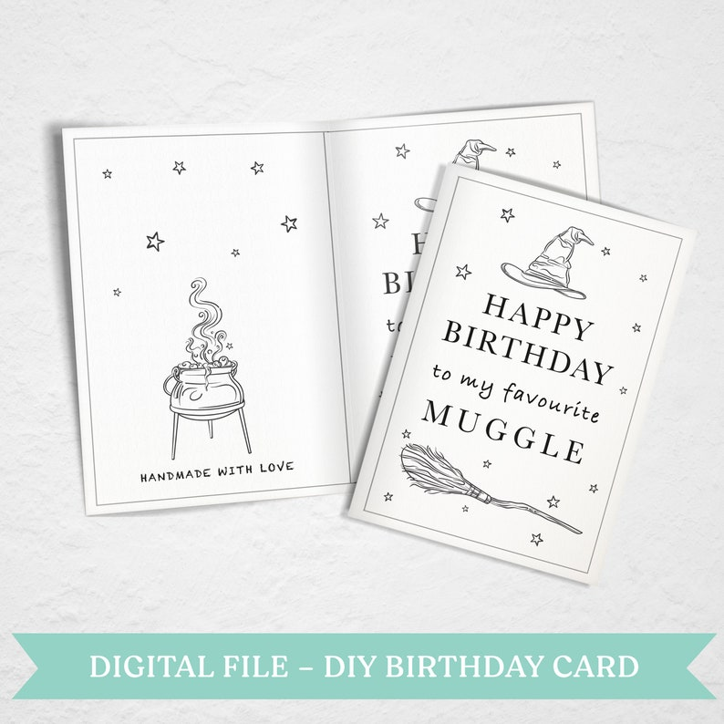 Harry Potter Inspired DIY Birthday Greeting Card Coloring ...