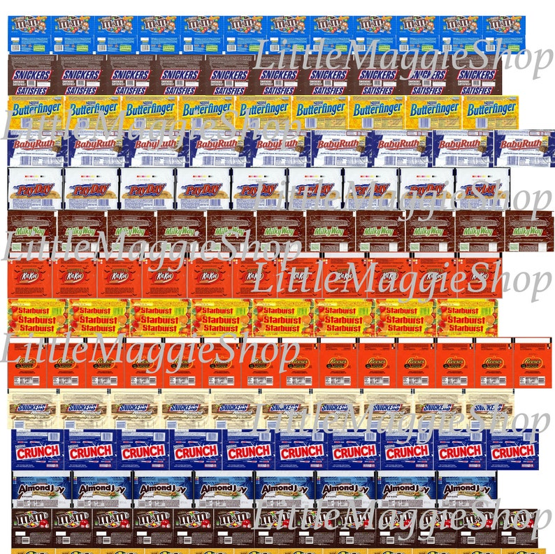 8315b6910d7 Dollhouse miniature candy bars packaging A4 PRINTABLE Sheet.