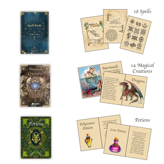 photo about Printable Miniatures identified as 3 Printable Magical Textbooks with internet pages - Spells, Potions and Magical Creatures for Dollhouse Miniatures 1:12 Obtain PDF sheet