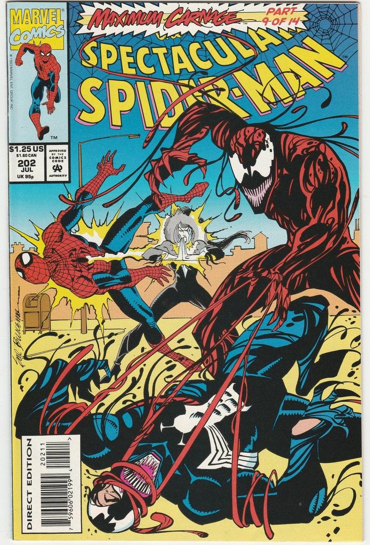 Spectacular Spider Man 202 Vfnm Venom Maximum Carnage Firestar Etsy