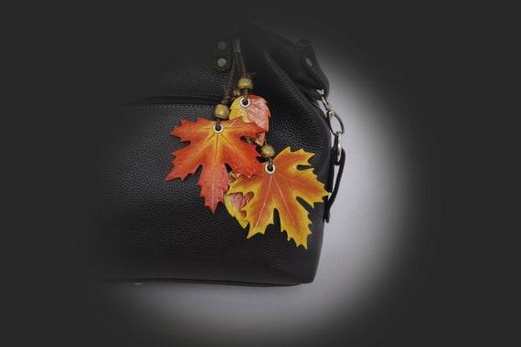 Flower Leave Leaf Keychain Purse Bag Charm Genuine Leather Handmade White Black