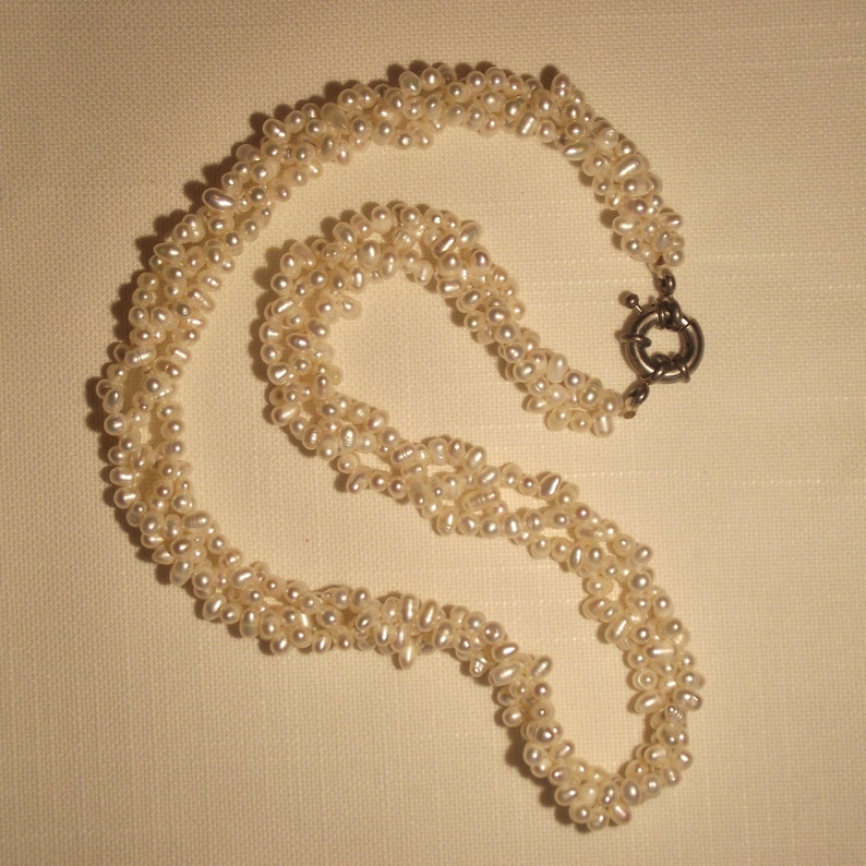 Triple Strand Cultured Pearls Seed Pearl Necklace White Pearls Vietnam Pearls