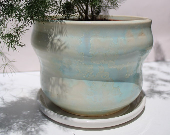 Crystal and Matte Blue Planter