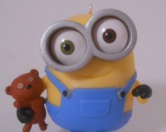 CUSTOM Christmas Ornament Made From Minions Movie Minion BOB Holding Teddy Bear
