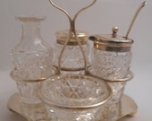 Antique Silver and Crystal Six-piece Cruet Set by Sheffield EUC Five