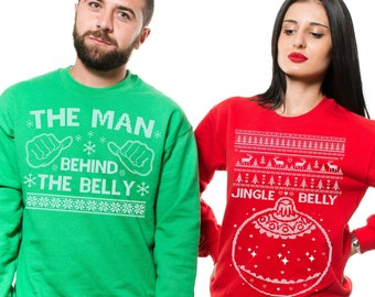 a258903967 Christmas party Funny Sweaters Couple matching Green Mens Sweater Red  Womens Unisex Fleece Sweater JINGLE BELLY non pregnancy Sweatshirt