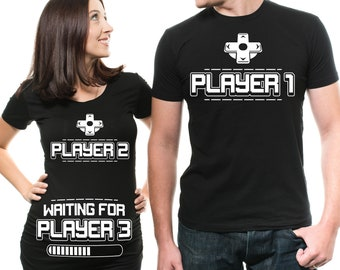 83e98e91d Couple maternity shirts Mens Player 1 Pregnancy player 2 Funny shirt Gamer  Parents funny maternity shirt Couple tee shirt. MilkyWayTshirts