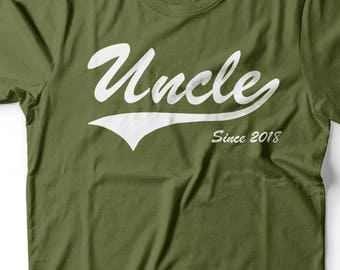 Uncle 2018 T-shirt new Uncle Tee shirt Baby Shower Baby Announcement Gift for New Uncle Tee Shirt Uncle Since 2018 Tee Shirt