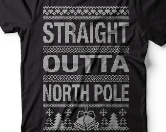 59d9d73f9 Funny Christmas T-shirt North Pole Ugly Sweater style t-shirt Gift for  Christmas Funny T-shirt Gift for him Gift for her