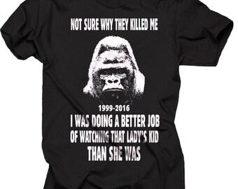 2bb57e242 Harambe Support T-Shirt RIP Harambe Gorilla Tee Shirt