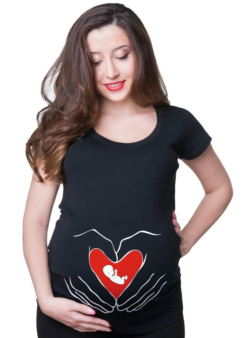 ac4a8c46875b Gravidanza bambino cuore sveglio Maglietta Premaman gravidanza