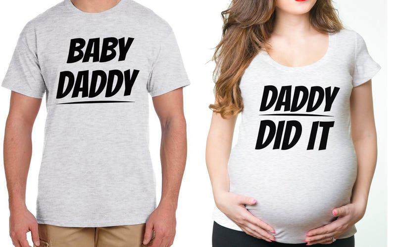 1c8411472 Pareja maternidad camisetas divertido papá embarazo maternidad