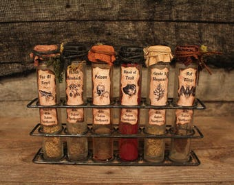 "Halloween Apothecary Set, ""Olde Salem Apothecary"", Halloween decor, Halloween decoration, Halloween props, apothecary, grunge, potions"