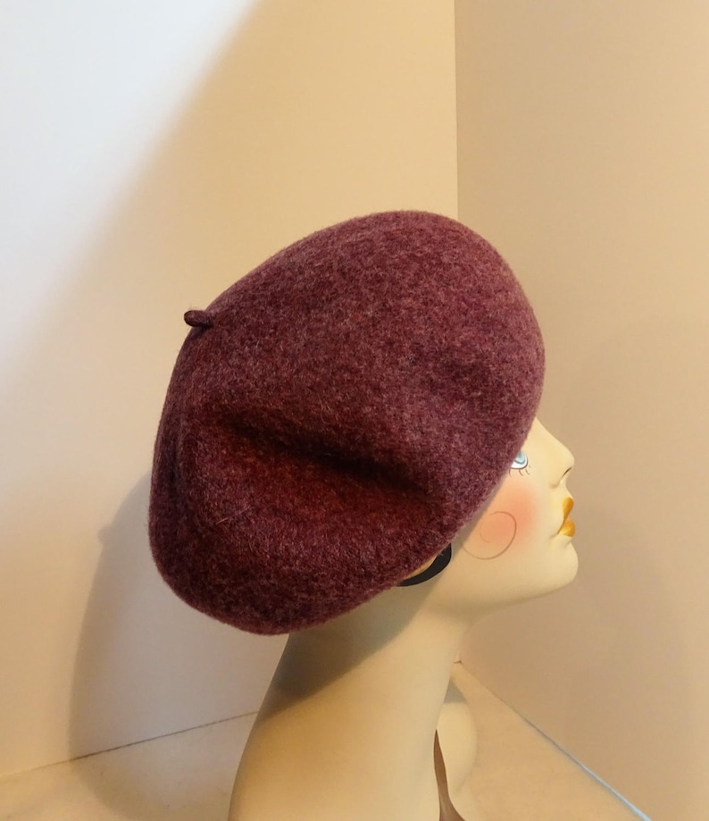 864f41e65035f French Beret 1930 s Glamour Fine Wool Heather Burgundy