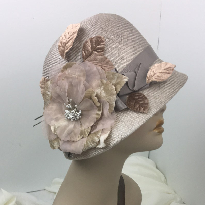 1920s Style Hats 1920s Look Cloche Hat Flapper Hat Roaring 20s Parasisal Straw Taupe Handmade Romantic Classic $216.00 AT vintagedancer.com