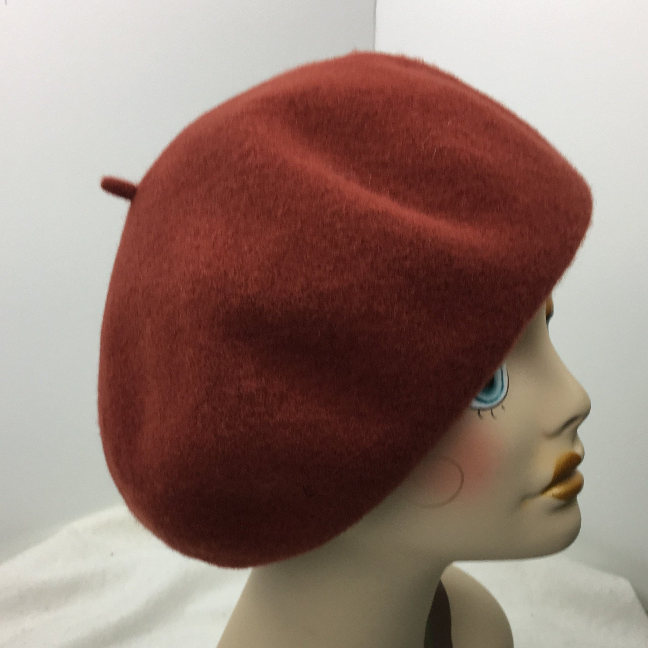 8e6d16cdb3c45 Wool French Beret Woman s Over Sized Extra Large Rust Hand Blocked Garbo  Dietrich