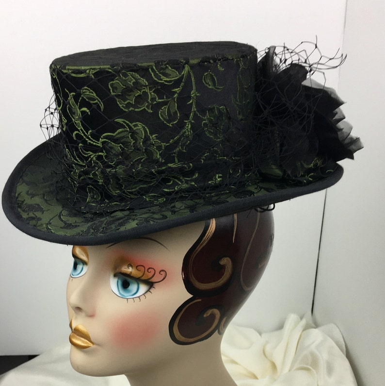 Steampunk Hats | Top Hats | Bowler Victorian Riding Hat Women Green and Black Veiling Elegant $145.00 AT vintagedancer.com