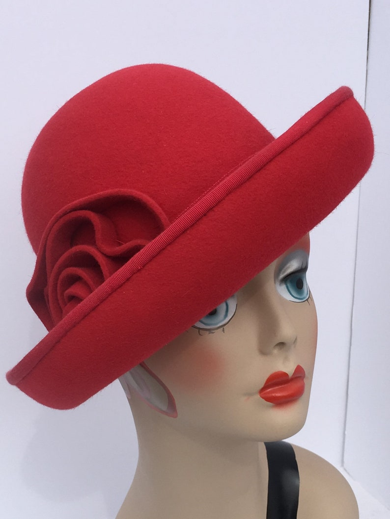 1930s Hat Styles | Women's 30s Hat History Cloche Hat/Millinery 1930s Red Velours Felt Hand Made $198.00 AT vintagedancer.com