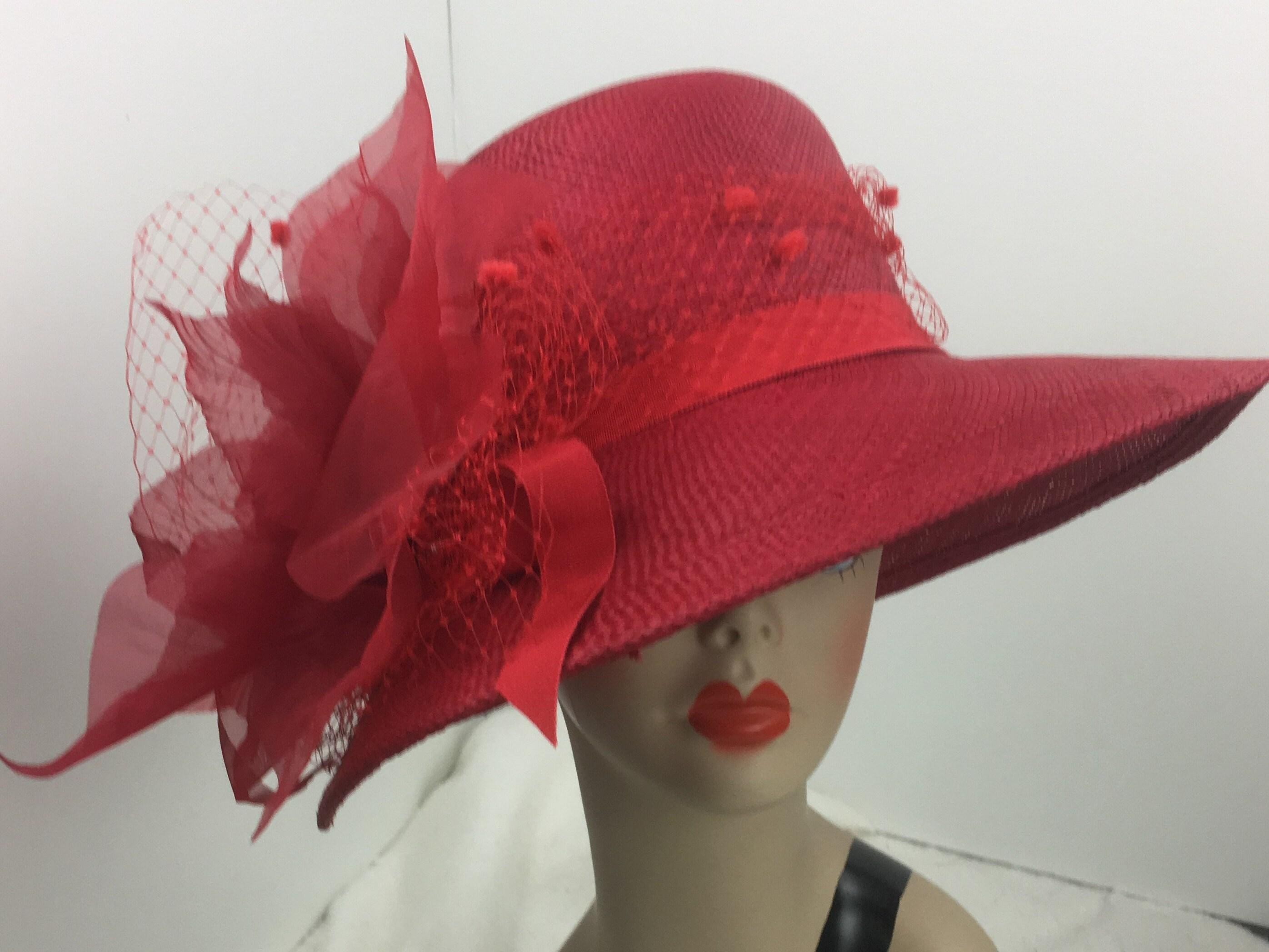 c9018cc7c Handwoven Panama Straw Hat Woman's Red Wide Brim Dressy Formal ...