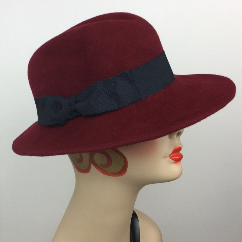 1940s Style Hats | Fascinator, Turban, Fedora Handmade Womans Fedora Hat Velour Felt Cranberry Navy Medium Classic Vintage Look Soft Brim $145.00 AT vintagedancer.com