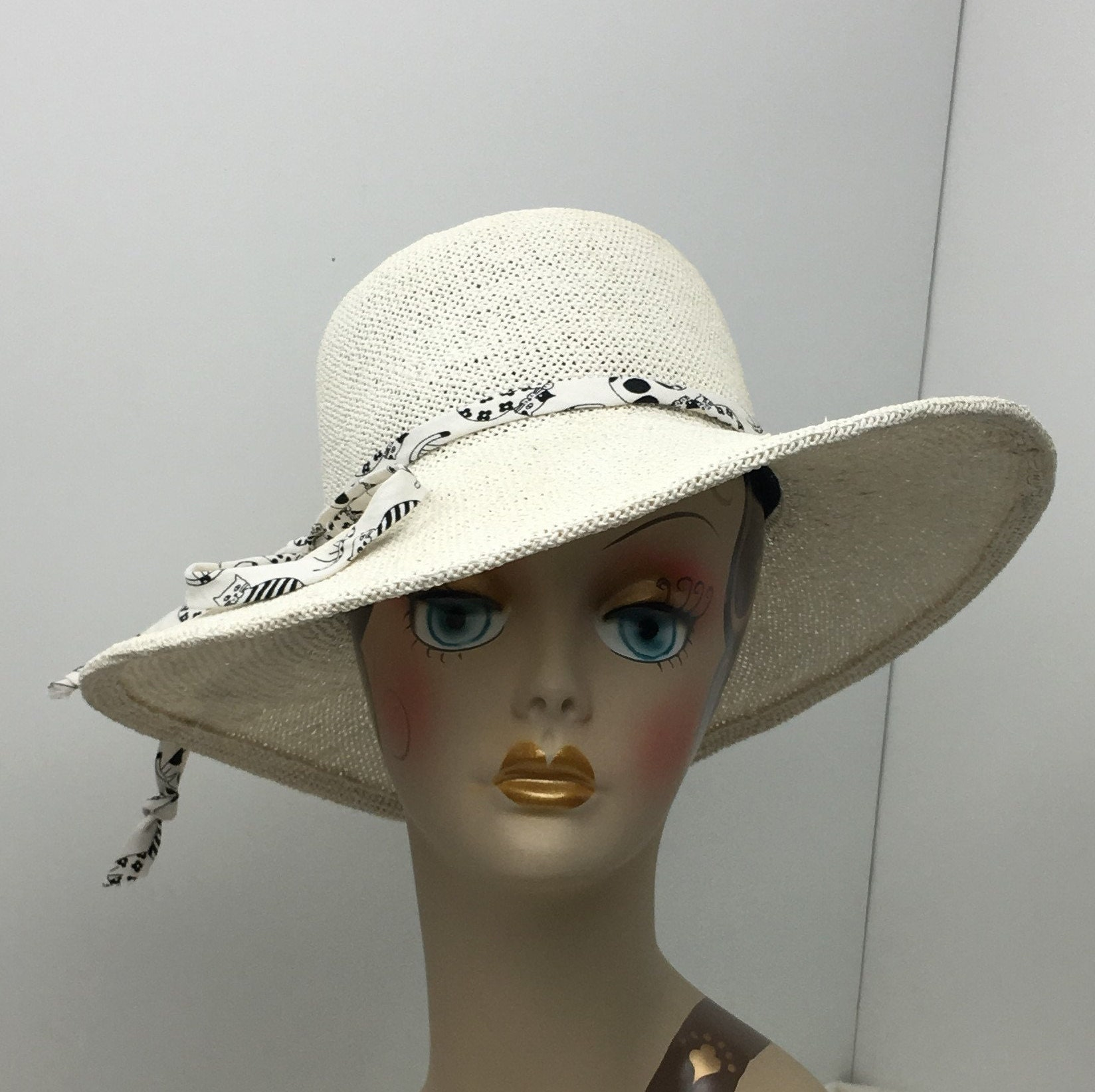 Wide Brim Summer Hat White Twisted Toyo Casual Glamour a870be776277