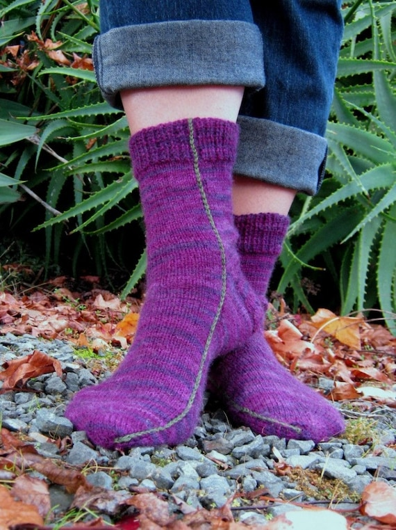 Easy Two Needles Socks Pdf Pattern Only Fine Sports Weight