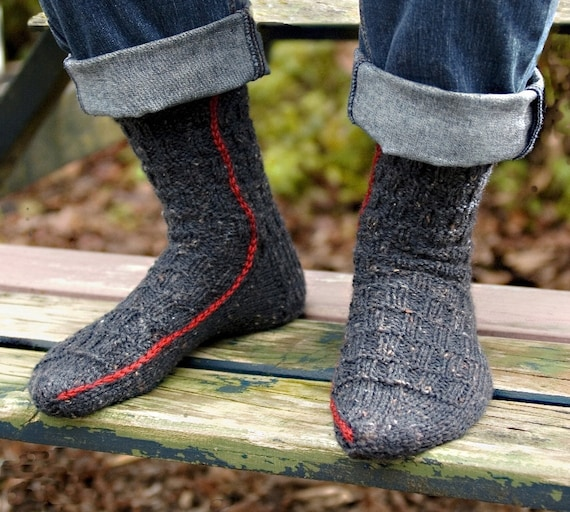 Easy To Knit Rugged Mens Socks On Two Needles S Mlxl Etsy