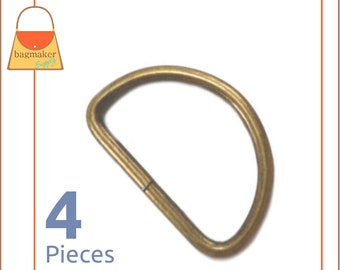12 Inch Flat Cast D Ring 13 mm D-Ring Purse Bag Making Handbag Hardware RNG-AA072 6 Pieces Light Antique Brass  Antique Gold Finish