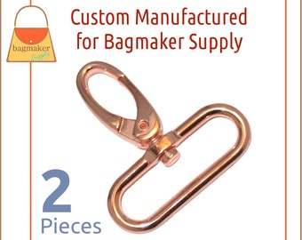 1-1/2 Inch Oval Gate Swivel Snap Hook, Deluxe Rose Gold / Copper Finish, 2 Pack, 51 mm 1.5 Inch Purse Clip, Handbag Hardware, SNP-AA182
