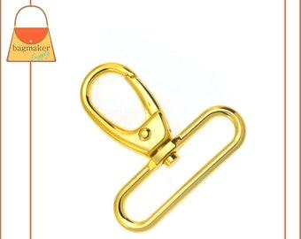 "2 Inch Snap Hook, Gold Finish, Oval Gate Swivel Purse Clip, Spring Gate Purse Clip, 2"", Handbag Bag Making Hardware Supplies, SNP-AA237"