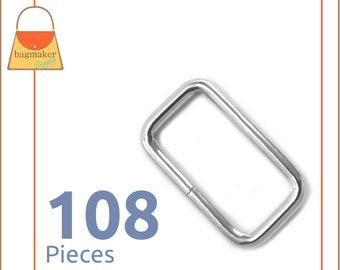 "1 Inch Rectangle Ring, 3 mm, Nickel Finish, 108 Pieces, Purse Handbag Bag Making Hardware Supplies, Rectangular Wire Loop, 1"", RNG-AA011"