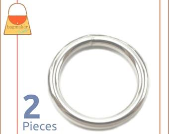 "2 Inch O Rings, Welded, Shiny Nickel Finish, 2 Pieces, Handbag Purse Bag Making Hardware Supplies, 2"", RNG-AA008"