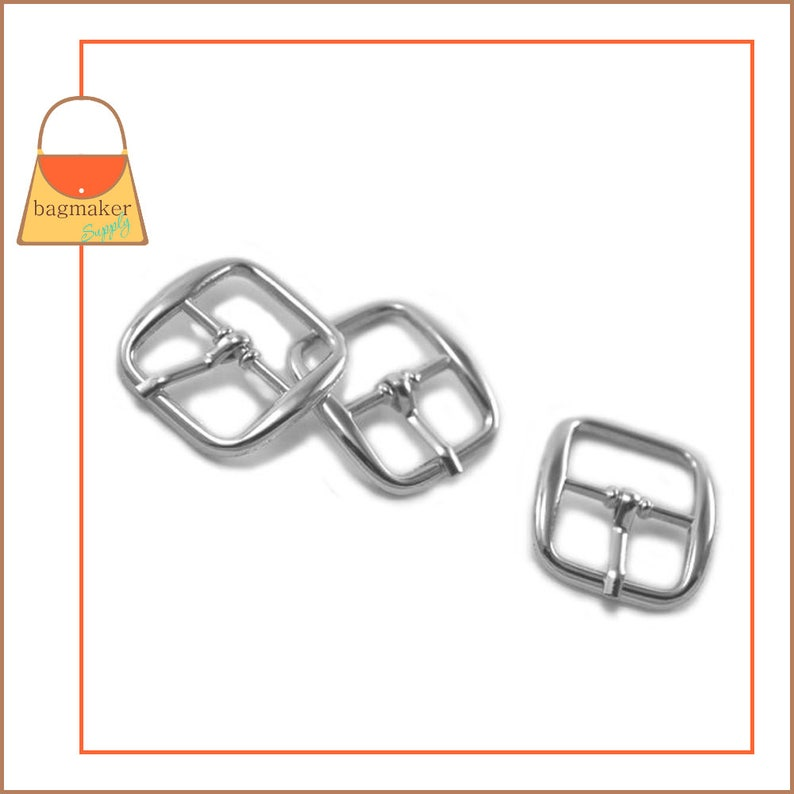 BKL-AA009 34 6 Pieces .75 .75 Inch Handbag Purse Bag Making Hardware 34 Inch Rounded Square Center Bar Pin Buckles Nickel Finish