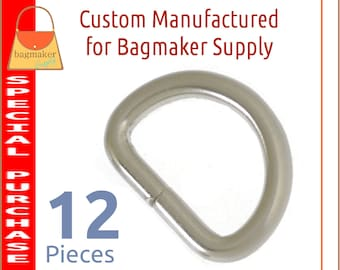 3/4 Inch D Ring, Deluxe Brushed Nickel Finish, 12 Pieces, .75 Inch 19 mm D Ring, Handbag Purse Bag Making Hardware Supplies, RNG-AA418
