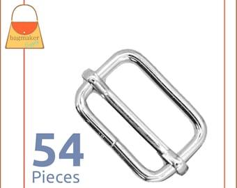 1 Inch Movable Bar Purse Strap Slide, Nickel Finish, 3.75 mm Gauge, 54 Pieces, 25 mm, Handbag Purse Bag Making Supplies Hardware, SLD-AA132