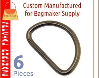 1-1/4 Inch D Ring, Dark Gunmetal Finish, 6 Pieces, 3.75 mm Gauge, 1.25 Inch 32 mm, Purse Bag Making Supplies Handbag Hardware, RNG-AA308