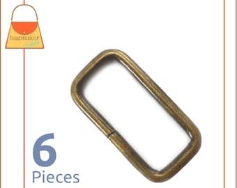 1-1/4 Inch Rectangle Ring, Antique Brass Finish, 6 Pieces, 1.25 Inch Rectangular Loop, Bronze Finish, Purse Handbag Bag Hardware, RNG-AA162