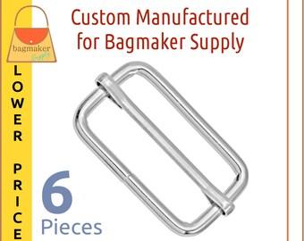 1.5 Inch Moving Bar Purse Strap Slide, 4 mm, Shiny Nickel Finish, 6 Pieces, 1-1/2 Inch, Handbag Purse Bag Making Hardware, SLD-AA134