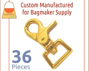 3/4 Inch Heavy Trigger Style Swivel Snap Hook, Deluxe Gold Finish, 36 Pack, 19 mm Purse Clip, Making Handbag Hardware Supplies, SNP-AA156