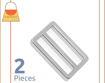 "1-1/2 Inch Center Bar Slide Purse Strap Slider Buckle, Shiny Nickel Finish, 2 Pack, 1.5"", Handbag Purse Hardware, 1.5 Inch, SLD-AA079"