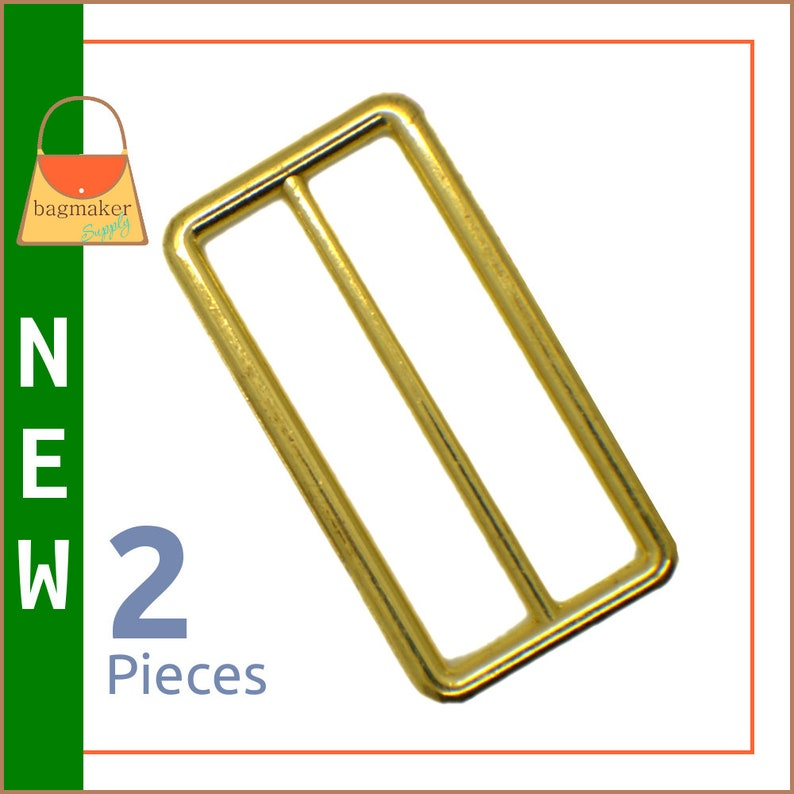 2 Inch Slide for Straps / Webbing Shiny Brass Finish 2 image 0