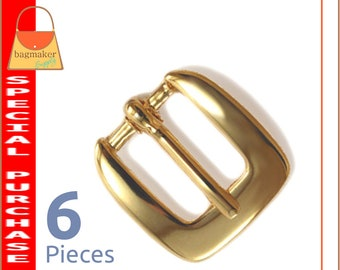 """1/2 Inch Square Buckle, Gold Finish, 6 Pack, Italian Economy Buckle for Purse Straps, Handbag Bag Making Hardware Supplies, .5"""", BKL-AA025"""